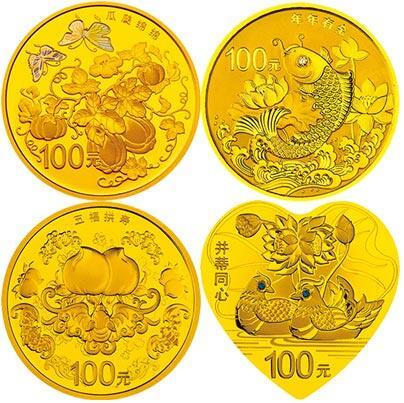纪念币上,寿桃,蝙蝠,南瓜,藤蔓,莲花,鲤鱼,鸳鸯,并蒂莲,都是中国