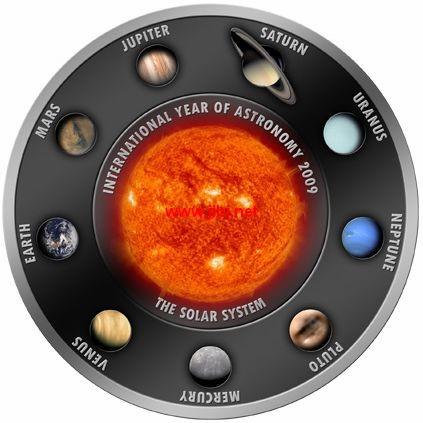 库克群岛发行国际天文年铜镀银套币
