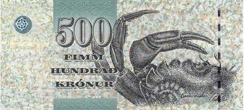 """在冰岛语中是""""皇冠""""的意思,纸币面额有100克朗,500克朗,1000克朗,2000"""